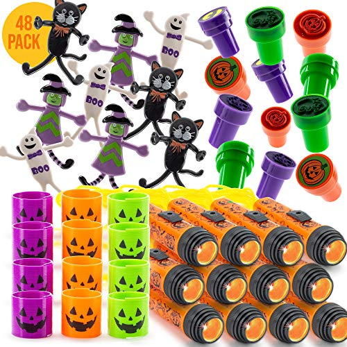 Halloween Party Supplies Stuffers 48 PCs Goody Bag Assortment, Flash Lights (AA Not Included) Self-Ink Stampers, Spooky Bendable Characters And Magic Springs. Kids Trick Or Treat Toys. Ideal As Party Favor, Reward Prizes, carnival And Events