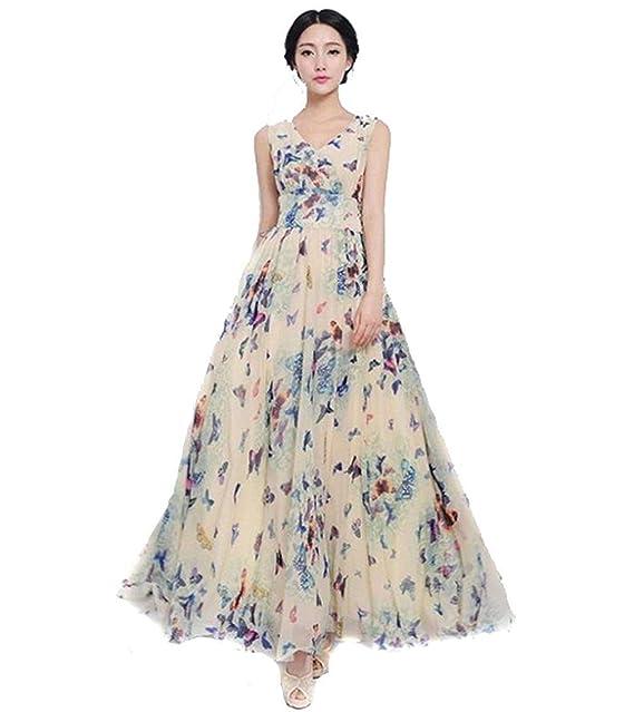 42479dc32 Vestido De Gasa para Vestido Largo con Mujer Estampado Mode De Marca De  Mariposa Estilo Maxi Vestido De Fiesta Elegante De Bohemia De Playa Vestido  Sin ...