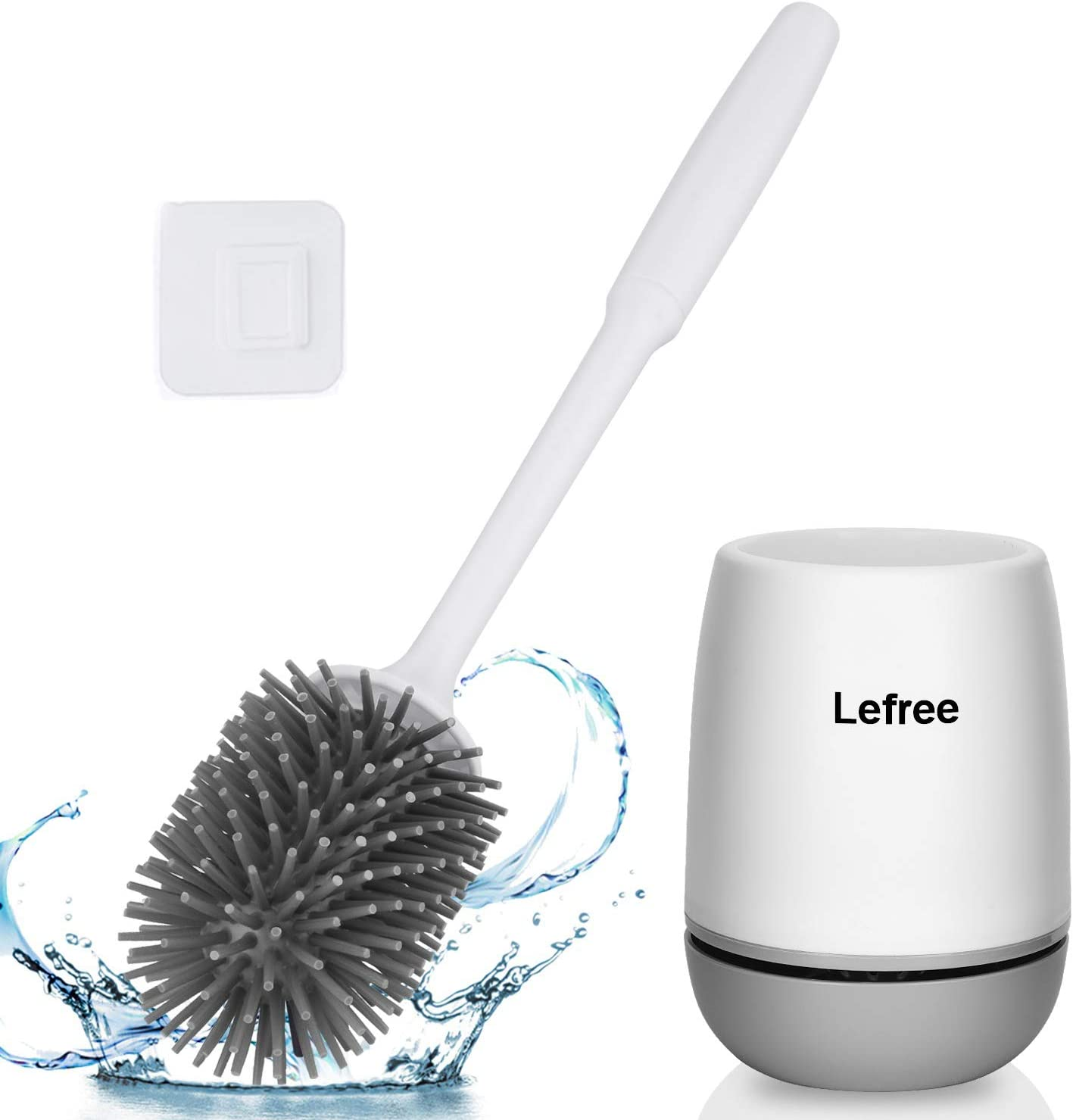 Lefree Silicone Toilet Brush and Holder,Bathroom Cleaner Brush Set,Non-Slip Handle Toilet Bowl Brush with TPR Soft Bristle,Wall Mounted/Floor Standing