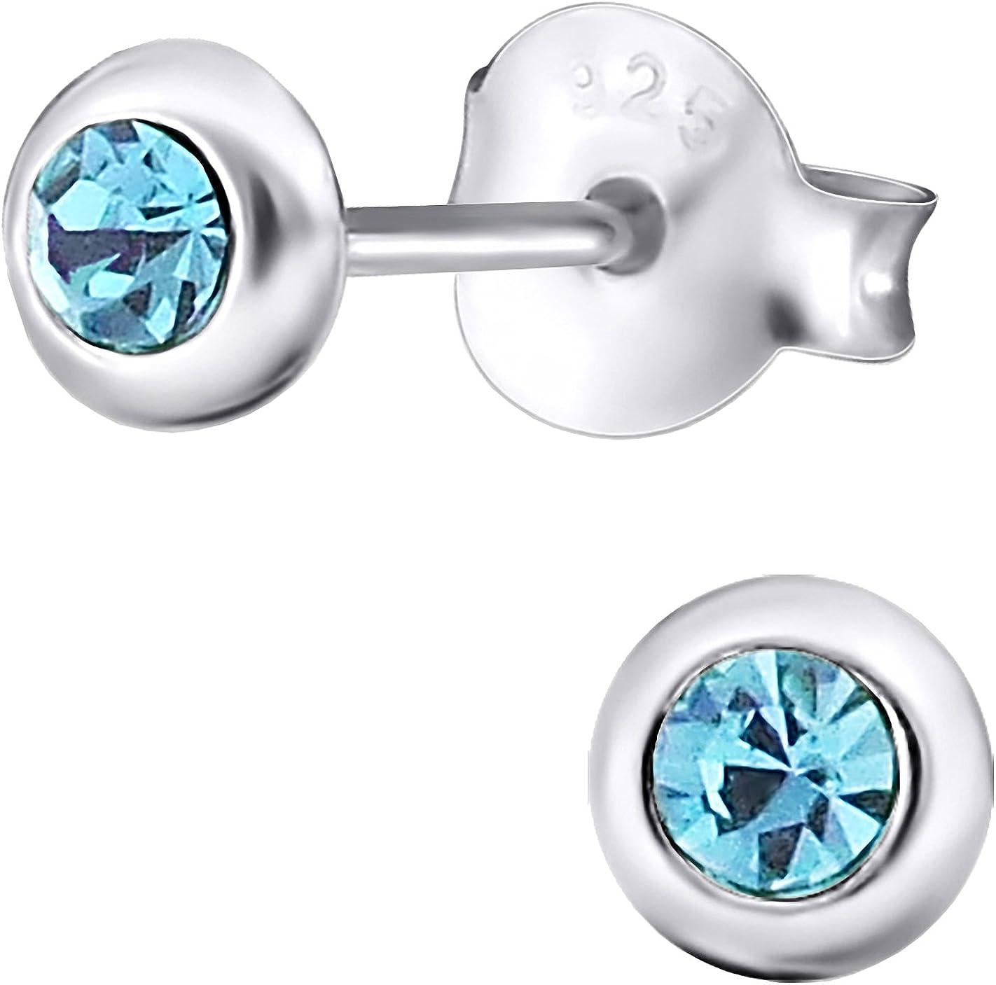 Jayare - Pendientes para niña redondos de plata de ley 925 con cristales brillantes