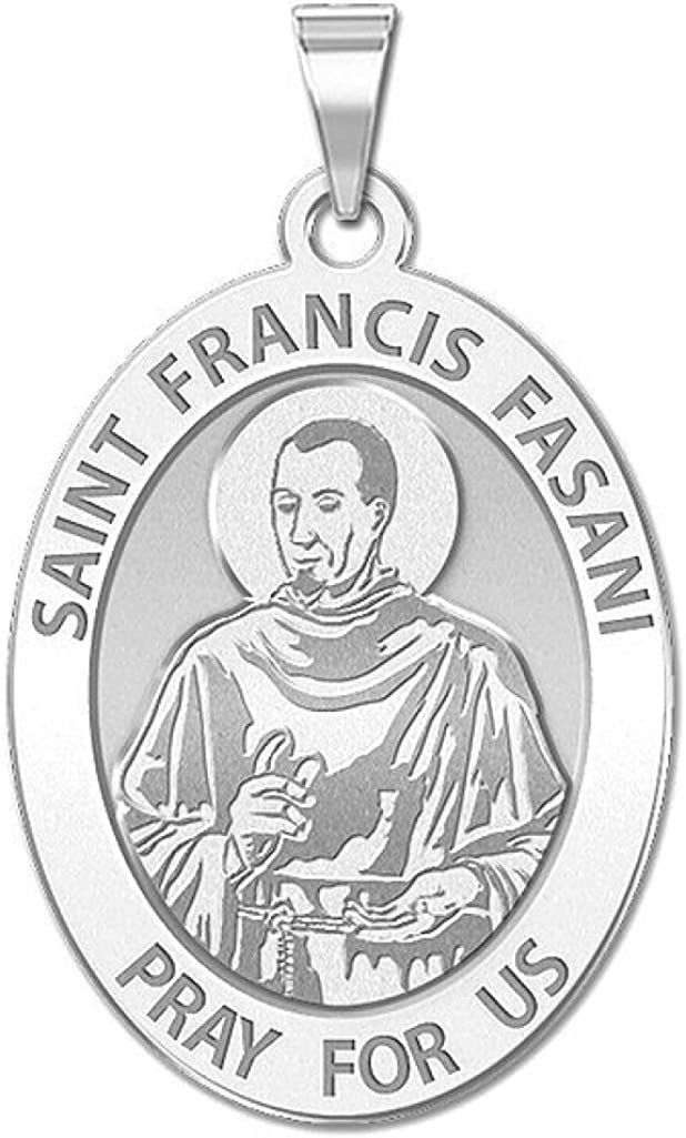 or Sterling Silver PicturesOnGold.com Saint Francis Fasani Oval Religious Medal 14K Yellow or White Gold
