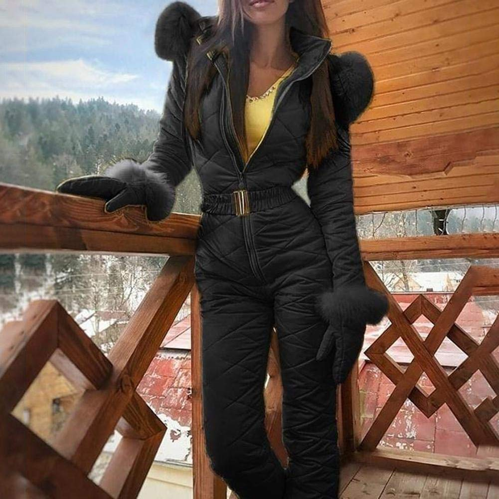 Tuta da Sci Invernale Calda da Donna Destinely Abbigliamento da Sci da Donna Giacca da Sci Impermeabile da Donna 3-in-1 Giacca Invernale Nera