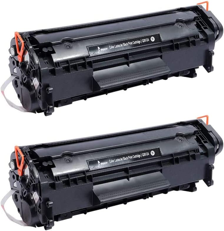 BIGGER Compatible Toner Cartridge Replacement for HP 12A Q2612A Used with HP Laserjet 1020 1012 1022 1010 1018 1022n 3015 3030 3050 3052 3055 M1319F Printer (2 Black)