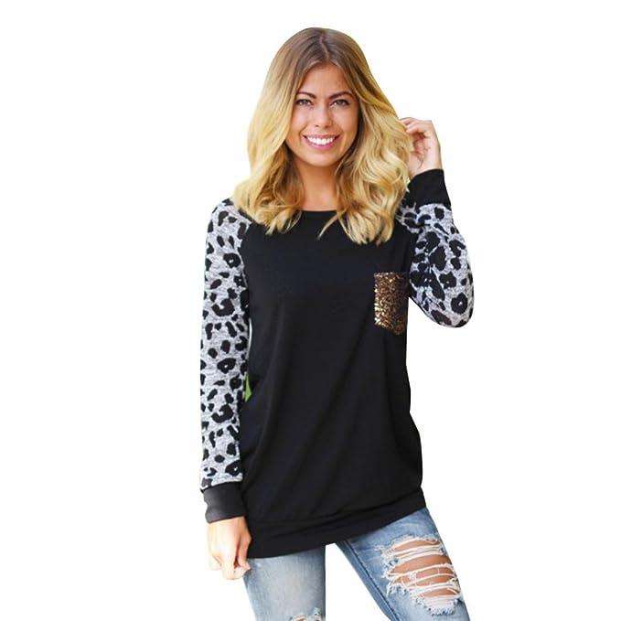 FEITONG Mujeres Manga Larga Estampado de Leopardo Blusa Ocasional Camisa Tops Moda Camiseta (L,