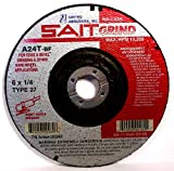 SAIT 20280 Type 27 6-Inch x 1/4-Inch x 7/8-Inch 10200 Max RPM Grade A24T Edge Depressed Center Grinding Wheels, 25-Pack