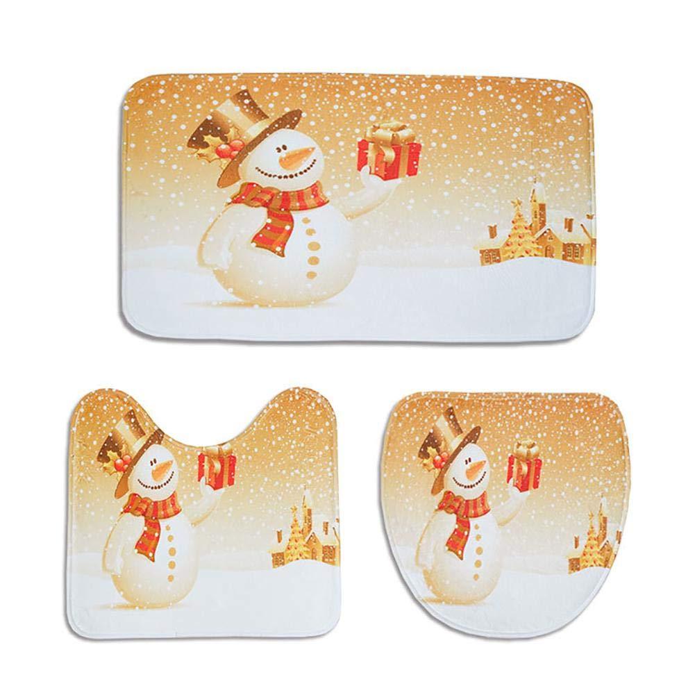 Johlye 3PCS Home Tappeti antiscivolo Stuoie di stampa stile natalizio Bagno antiscivolo Tappeto Morbido durevole Tappetino per WC Set per la decorazione domestica