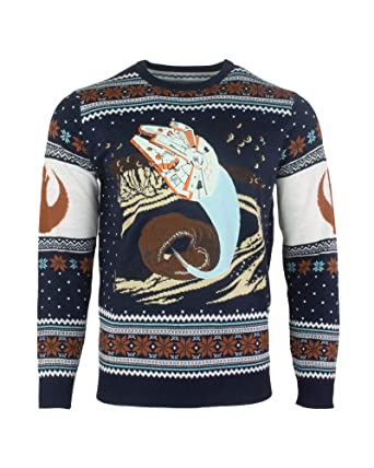 2d837f69eae9 Star Wars Christmas Jumper Ugly Sweater Millennium Falcon Space Slug ...
