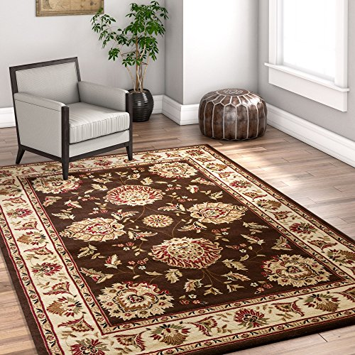 Sultan Sarouk Brown Oriental 9x13 (9'3'' x 12'6'') Area Rug Persian Floral Formal Traditional Area Rug Easy Clean Stain Fade Resistant Shed Free Modern Classic Thick Soft Plush Rug