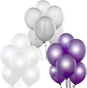 12Inch Latex Balloons (Premium Helium Quality), Pack of 50, purple , white , silver