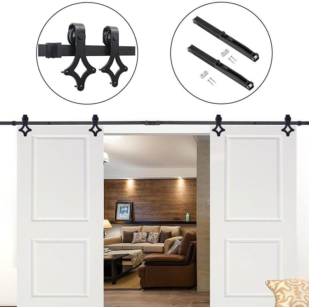 Hahaemall - Puerta rústica de armario con forma de rombos, puerta corredera, puertas dobles de madera, pista de acero, pesado para colgar: Amazon.es: Bricolaje y herramientas