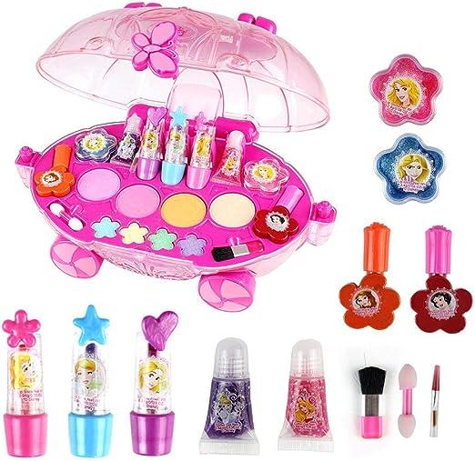 Maquillaje Niñas Set Juguete Niña Makeup Set For Children Girl Pretend Juego De Disfraces De Belleza Para Niñas Pequeñas Para Niños Con Forma De Carro De Princesa De Disney Juguetes Cosméticos: Amazon.es: