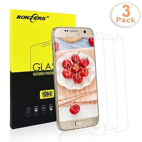 NONZERS Panzerglasfolie für Samsung Galaxy S7, [3 Stück] Ultra-klar 9H Härtegrad,Blasenfrei Einfache Montage, Anti-Öl,Kratzer