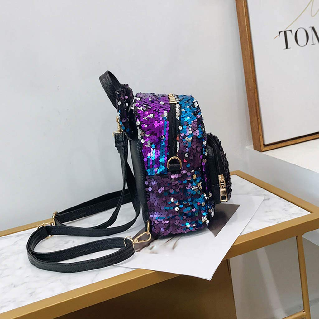 Sequin Backpack for Girls for School Flip Glitter Mermaid School Bag with Front Pocket Lightweight School Dayback with Ears Bear Shape Travel Backpack for ...