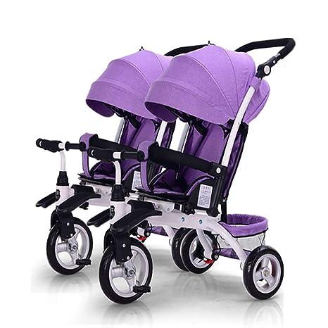 Cochecito de bebé, GUO@ Doble NiñOs Triciclo Doble Asiento ...