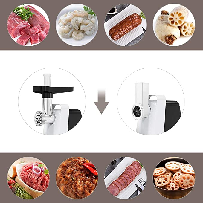 Sameboo - Picadora de carne eléctrica de 600 W, máquina para embutir salchichas, robot de cocina 2 en 1, 4 cabezales de corte, dos salidas de carne (5 mm y 7 mm),
