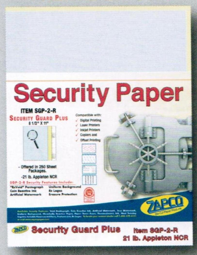 Laser Print Security Paper (SGP-2-R) with Single Perf, Blue/Canary 21-lb 2-Part Carbonless, 8.5'' x 11'', 250 SHEETS/PACK, YIELDS 125 SETS