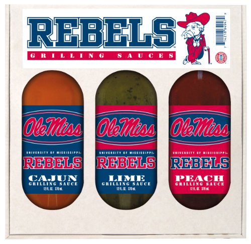 Rebels Gift Mississippi (Mississippi Rebels NCAA Grilling Gift Set (12oz Cajun, 12oz Lime, 12oz Peach))