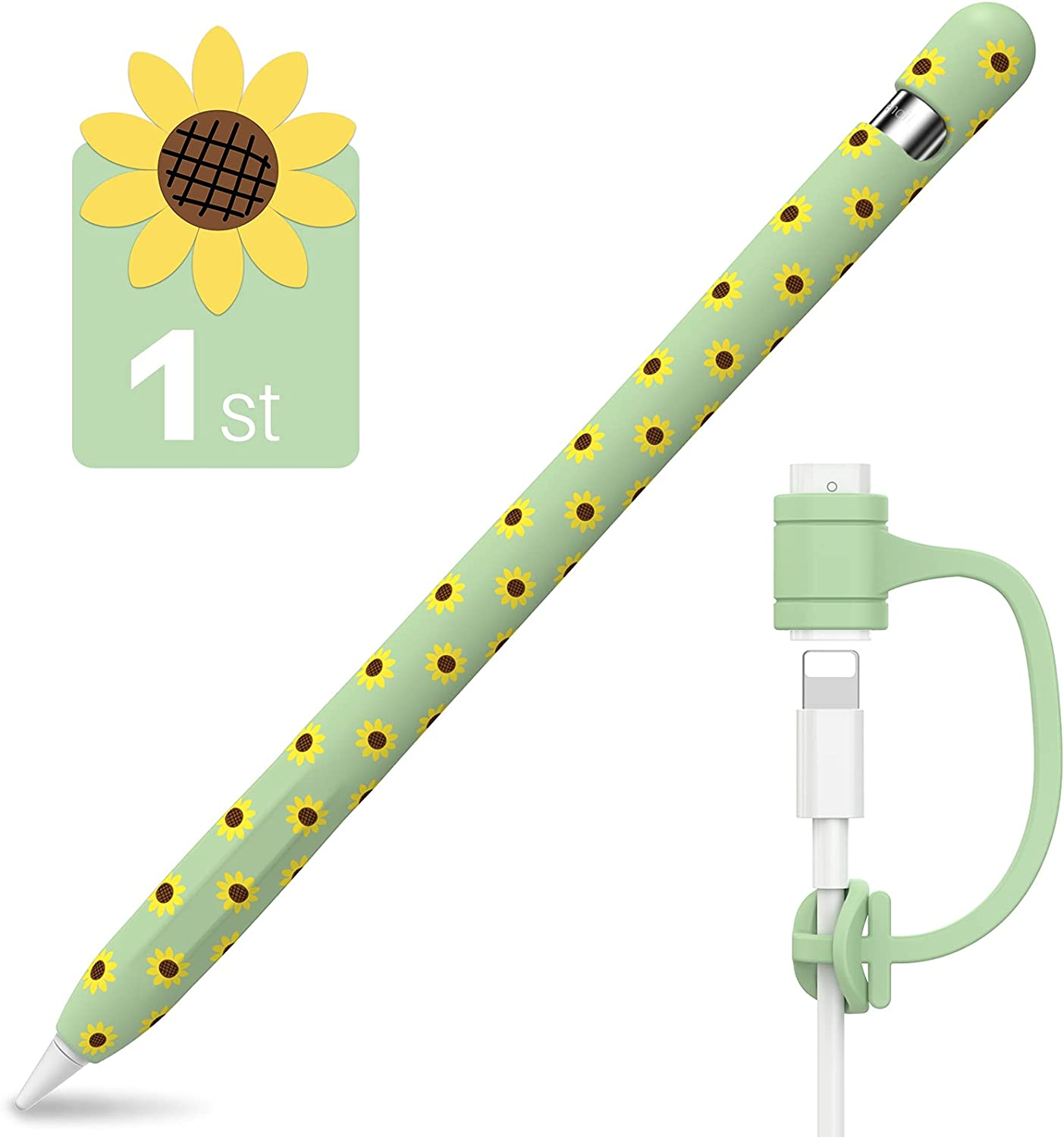 NIUTRENDZ Sunflower Case for Apple Pencil 1st Generation Cover Silicone Sleeve Protector Skin Accessories with Cable Adapter Tether (Green)