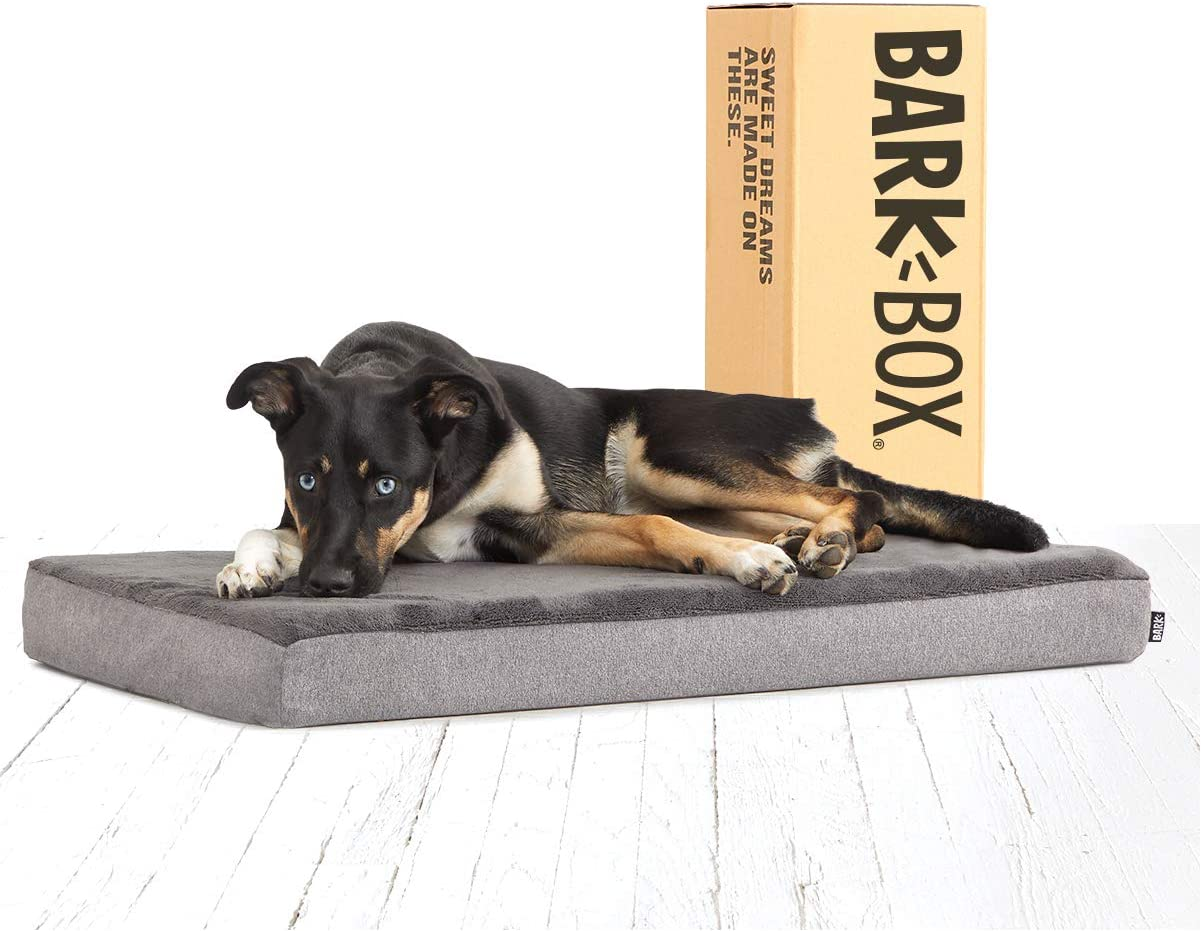 Barkbox Memory Foam Platform Dog Bed Plush Mattress for Orthopedic Joint Relief Machine Washable Cuddler with Removable Cover and Waterproof Lining Free Warranty Includes Squeaker Toy