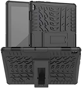 Lantier Hybrid Armor Shockproof Impact Protection Tough Hard Rugged Heavy Duty Combo Dual Layer Protective Case with Kickstand for Lenovo Tab E10 (TB-X104F) 10.1Inch Black