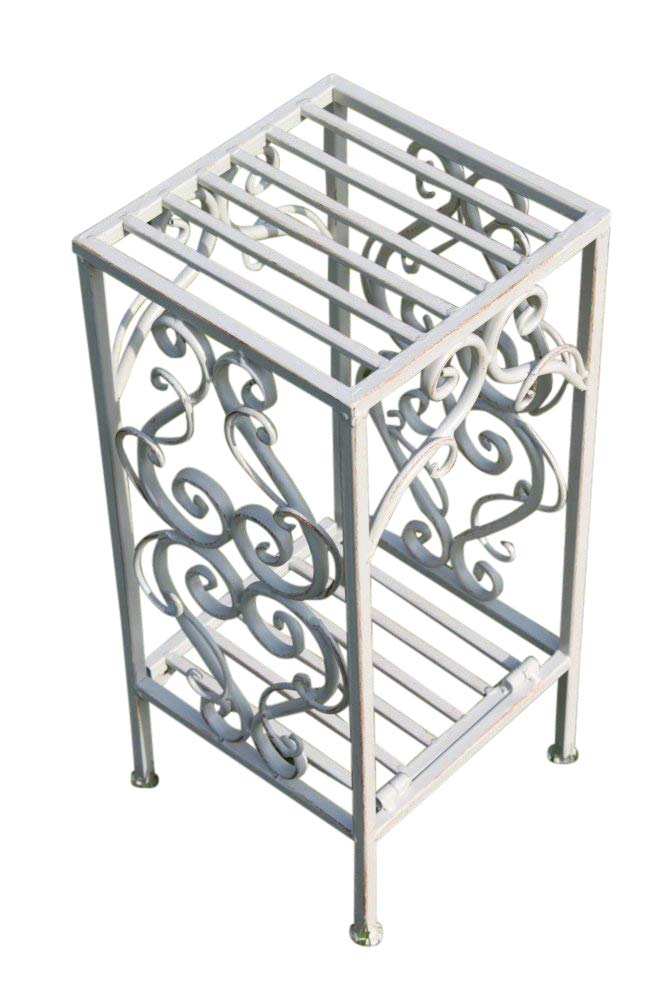 Olive Grove Versailles Metal Side Table or Plant Stand in Antique White (Small)