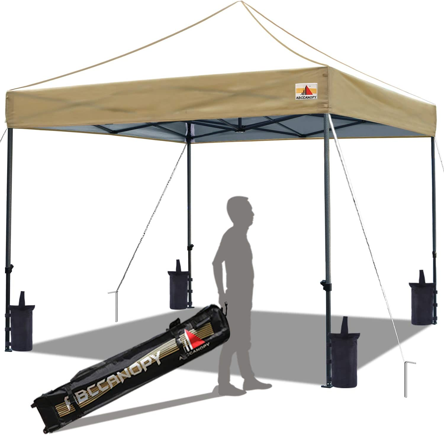 ABCCANOPY 10×10 Canopy Tent Outdoor Canopy Pop up Canopy Commercial Instant Shelter with Wheeled Carry Bag, Bonus 4 Canopy Sand Bags