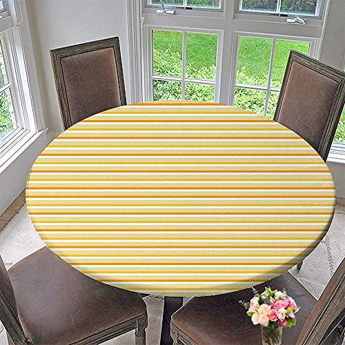 Mikihome Modern Simple Round Tablecloth Season Toned Forms with Stripes Lines Dots Print Earth Yellow Decoration Washable 35.5