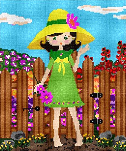 (pepita Girl In Garden Needlepoint Canvas)