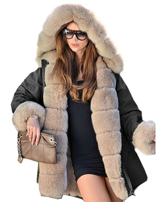 4b0f7ba8931a Aox Women Winter Faux Fur Hood Warm Thicken Coat Lady Casual Plus Size Parka  Jacket Outdoor Overcoat  Amazon.co.uk  Clothing