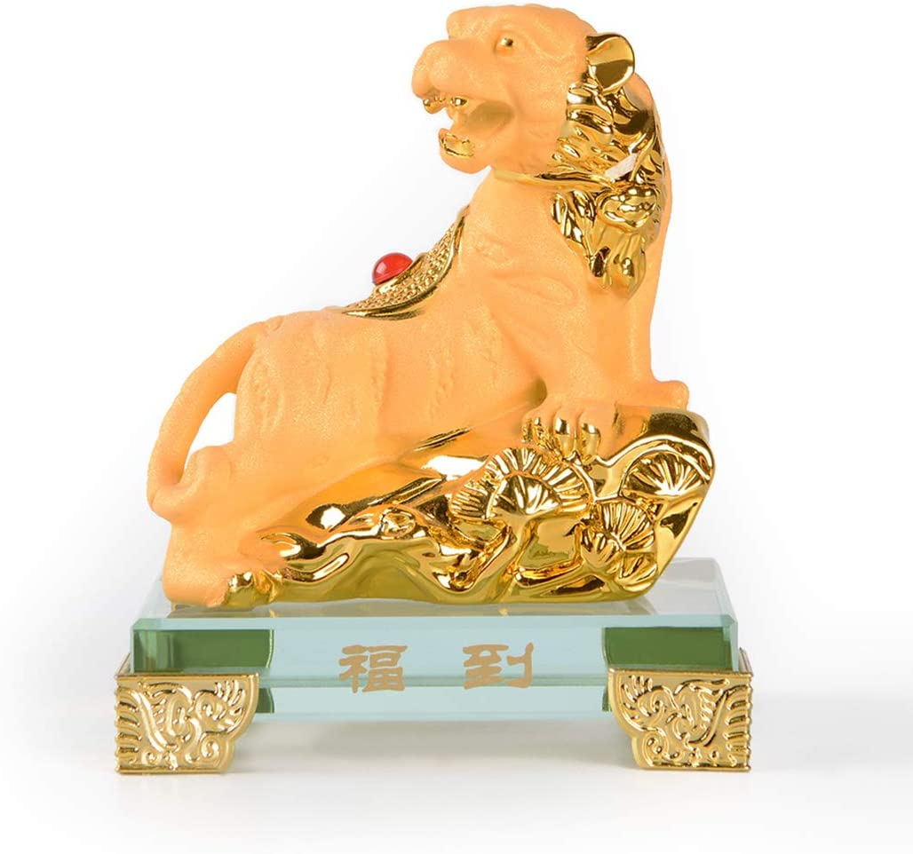 PopTop Brass Golden Resin Feng Shui Statue Chinese Zodiac Tiger Home Office Table Top Decor Figurine Gift Collection PTZY102