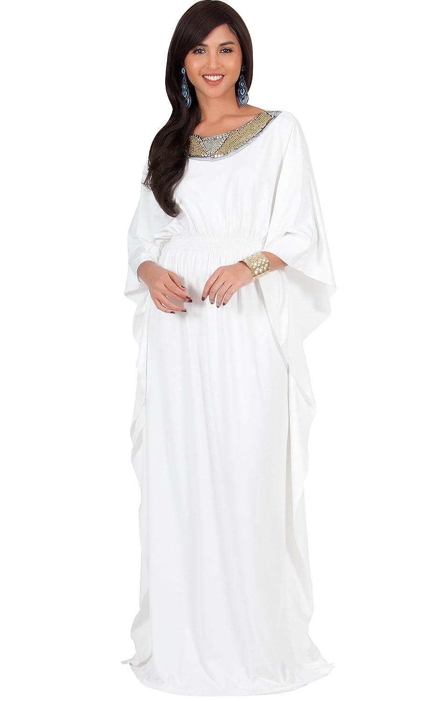 KOH KOH Womens Long Kaftan Flowy Casual Abaya Summer Evening Gown ...