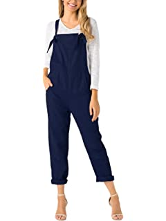 5baa799f5223 YOINS Women s Retro Dungarees Loose Overalls Baggy Strappy Pocket  Sleeveless Long Jumpsuit Playsuit Romper Bib Trousers