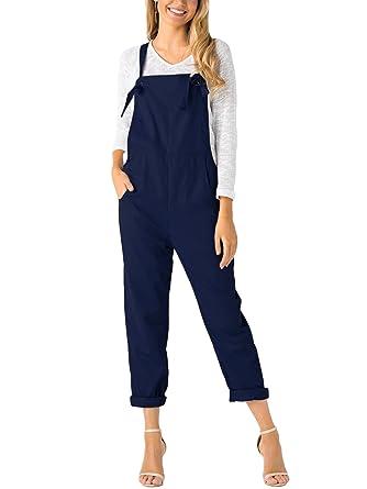 00a6095357a YOINS Overalls for Women Bib Baggy Denim Jumpsuit Adjustable Strap Loose  Romper Blue XS