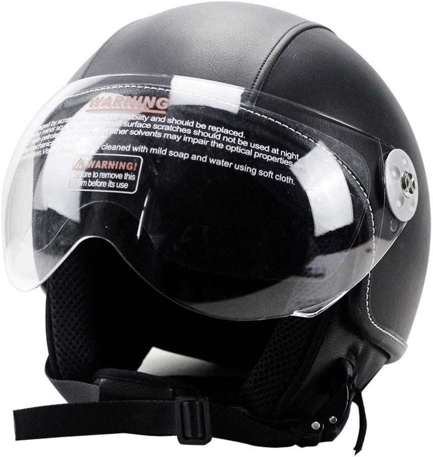 Casco de Moto Harley de Cuero Retro Hombres Mujeres Cascos de Moto antichoque con Visera extra/íble Accesorio de Motocross