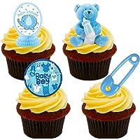 Decoraciones de obleas paradas para tartas, comestibles, para Baby Shower de varón