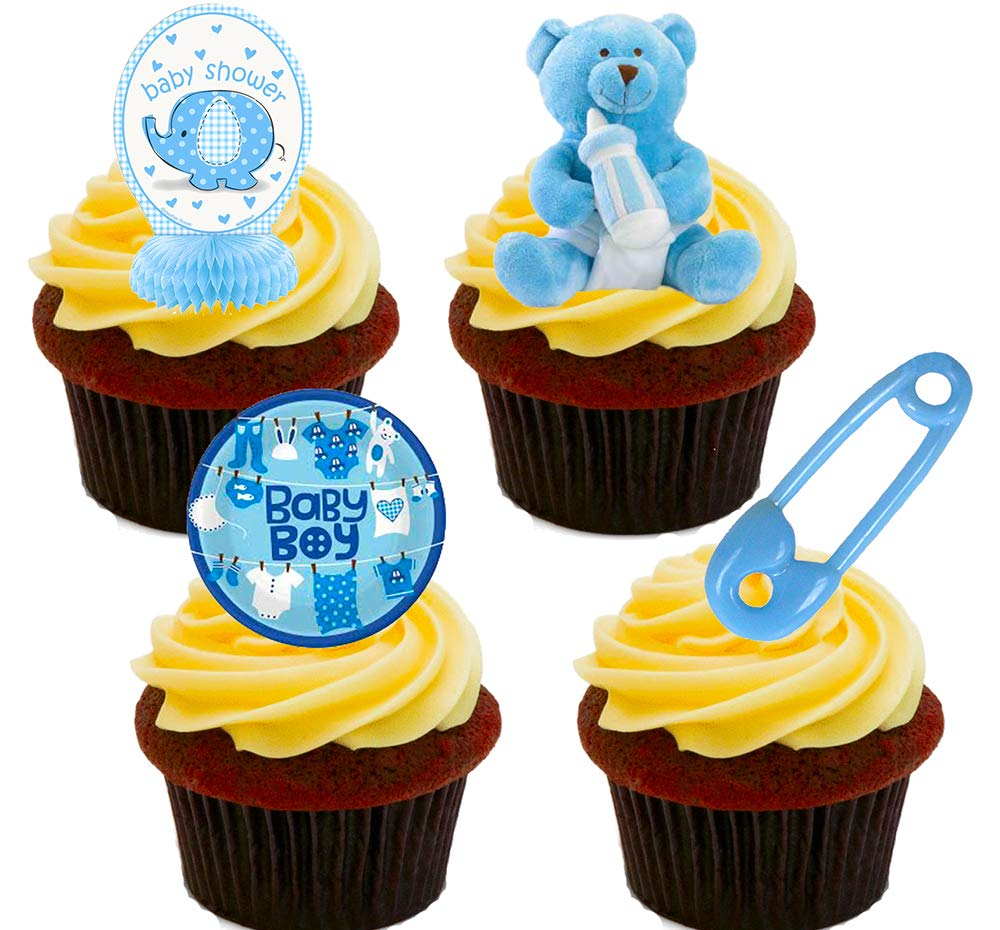 Made4You Baby Shower Boy, Blue Edible Cupcake Toppers - Stand-up Wafer Cake  Decorations (Pack of 24): Amazon.co.uk: Kitchen & Home