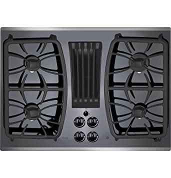 Superior GE Profile Gas Downdraft Cooktop PGP9830SJSS Black Glass W/ Stainless Steel  Trim