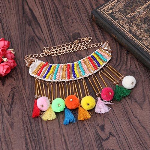 Dairyshop collana da donna Le donne di modo donne bordano le sfere di pelliccia della collana del pendente della nappa Retro accessori