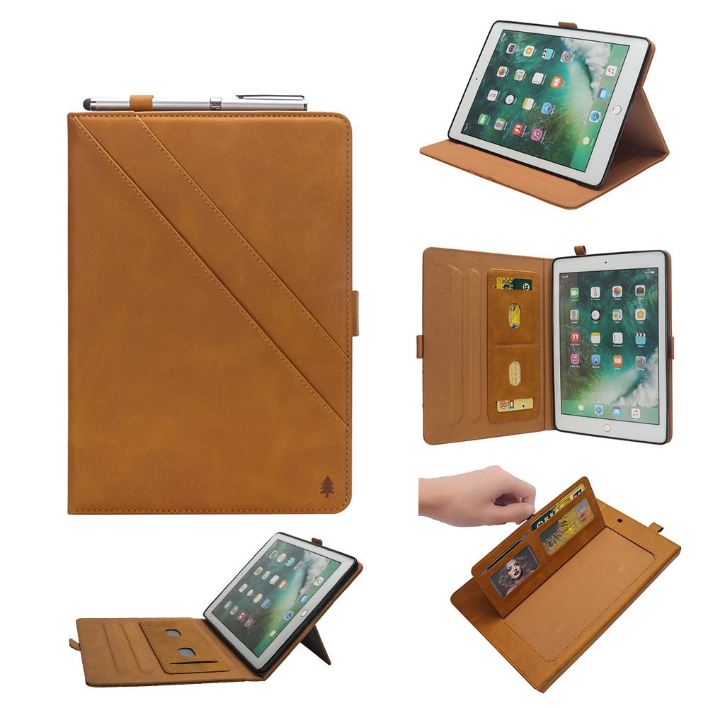 iPad 12.9 inch Case 3rd Gen, TechCode Premium PU Leather Folio Business Case Multi-Angle Viewing Stand Cover Skin Card Slots Pouch with Pencil Sleeve for 3rd Generation iPad Pro 12.9 inch 2018, Yellow
