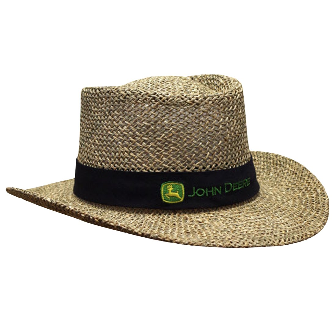 51972f80c John Deere Brand Black Straw Hat With Neck Strap