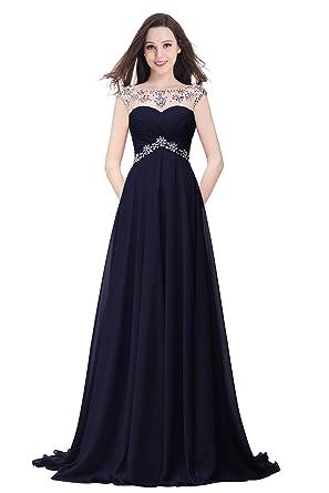 Babyonline® Damen Abendkleider, Lang, Mit Pailletten Navy Blau 44 ...