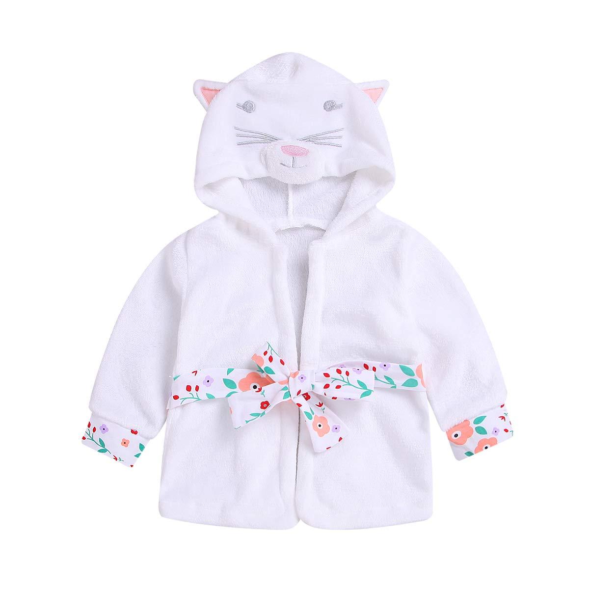 994dc0257e Baby Toddler Girl Coral Fleece Bathrobe Animal Hooded Towel Robe Sleepwear  1-5T product image