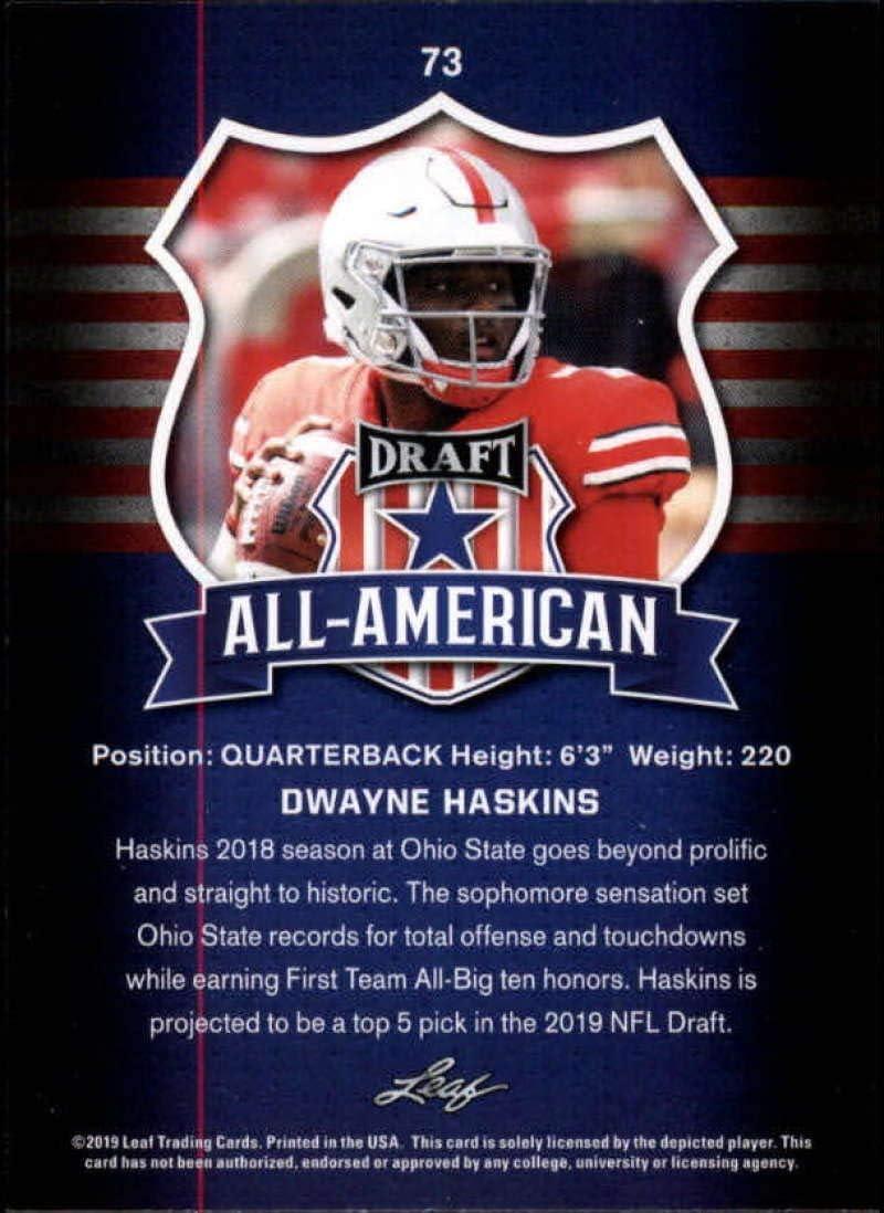 Dwayne Haskins 2019 Leaf Draft #73 All-American Gold SP Rookie Card PGI 10