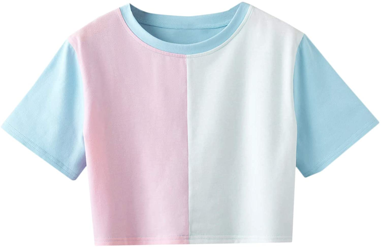 80s Tops, Shirts, T-shirts, Blouse Romwe Womens Cute Colorblock Short Sleeve Crop Tops T Shirt Tee $14.99 AT vintagedancer.com