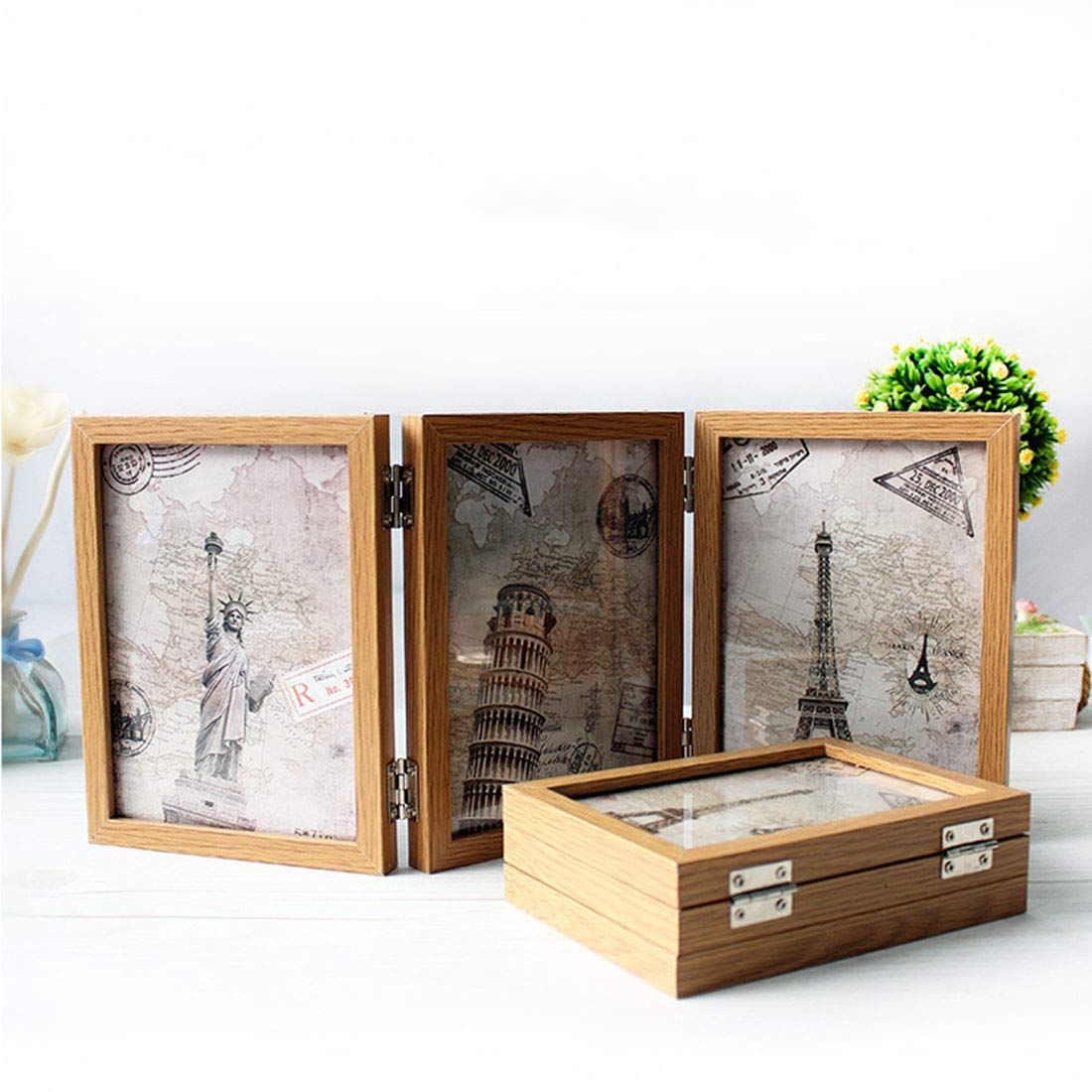 Bverionant Wood Folding Photo Frame Hinged Picture Frame on Desk Table Top #1 S