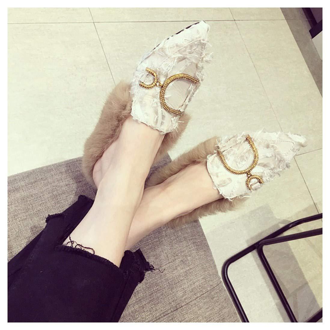 OMFGOD Señoras Moda Botones De Metal Zapatillas Comodidad Cuero Cuero Cuero Piel Artificial Caucho Fondo Plano Ocio Miller Zapatos,Apricot,39 c8a5b6