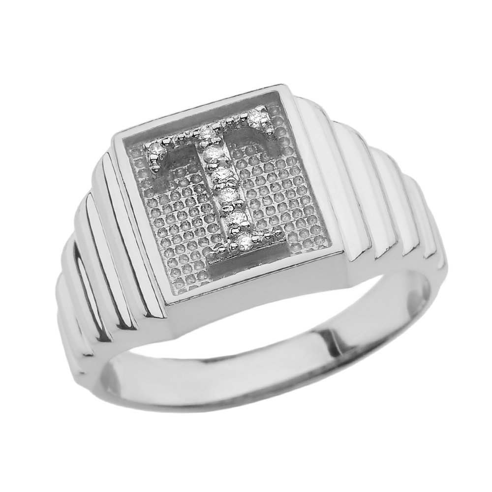 Men's 925 Sterling Silver Layered Band Square Face Diamond Initial Letter T Ring (Size 11)