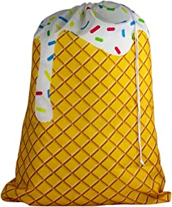 Large Laundry Bag - Store Dirty Clothes at Summer Camp, College Dorm, or Home - 16 Designs Available - 24 x 32 inches (Ice Cream Cone)