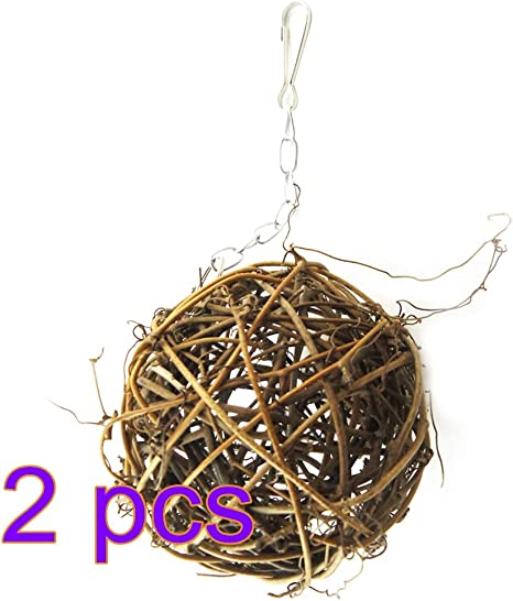 POPETPOP 2 UNIDS Bolas de rat/án Sauce Rama Bola Loro Masticar Juguete Bola Jaula de p/ájaros Ornamento Colgante para Mascotas peque/ñas 10 x 10 x 10 cm