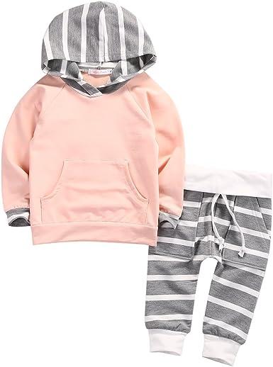 Pantalones Largos Capucha para Beb/é Ni/ñas Rayas Florales Conjunto de 2 Piezas Sudaderas con Bolsillo Superior